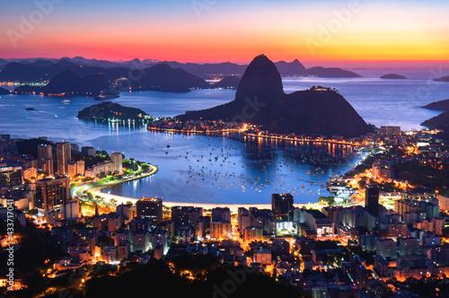Canvas Print Rio de Janeiro (Night Skyline)