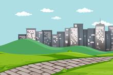 Empty Park Scene With Many City On Background