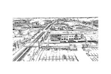Building View With Landmark Of Fayetteville Is A City In North Carolina. Hand Drawn Sketch Illustration In Vector.