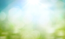 World Environment Day Concept: Green Grass And Blue Sky Abstract Background With Bokeh