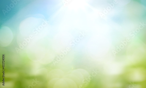 Valokuva World environment day concept: green grass and blue sky abstract background with