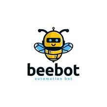 Robot Bee Logo Vector Illustration
