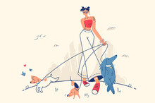 Stylish Girl Walking With Dogs Vector Illustration Woman Walking Park Fresh Air With Domestic Pets Flat Style Leisure Weekend Fun Spare Time Concept Isolated