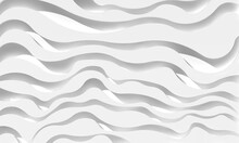 3D Background Abstraction. 3d White Wave Abstraction. A Three-dimensional Composition Of White Waves.