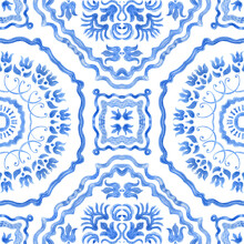 Watercolor Painted Indigo Blue Damask Seamless Pattern On A White Background.Spanish Tile With Hand Drawn Baroque And Floral Ornaments In Mediterranean Majolica Ceramic Painting Style. Batik Wallpaper