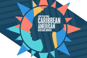 June is National Caribbean American Heritage Month. Holiday concept. Template for background, banner, card, poster with text inscription. Vector EPS10 illustration.