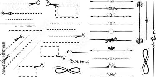 Canvastavla Dotted lines and Scissors
