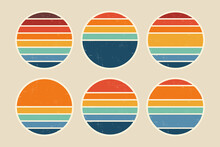 Sun Retro Badge And Emblem Set. Abstract Ocean View Background Inside Circles Shapes With Geometric Vintage Distressed Style. Perfect For Sticker, Logo, Icon, T-shirt Or Any Purpose.