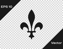 Black Fleur De Lys Icon Isolated On Transparent Background. Vector