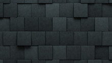 3D Tiles Arranged To Create A Concrete Wall. Futuristic, Square Background Formed From Semigloss Blocks. 3D Render
