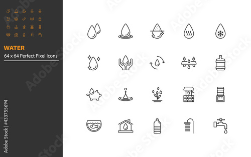 Fototapeta set of water line icons, 64x64px, drinks, pool, aqua obraz