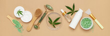 CBD Oil, Hemp Tincture, Cannabis Cosmetic Product For Skin Care. Alternative Medicine Pharmaceutical Medical Cannabis. Top View. Flat Lay
