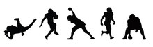 American Football Player Sports Silhouette ,american Football Player Sport Action Silhouette Vector.