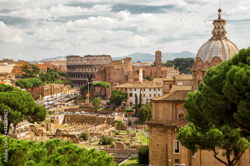 Obraz na plátně Panorama of Roman Forum, Colosseum in distance, Rome, Italy