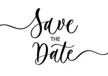 Save The Date. Wavy Elegant Calligraphy Spelling For Decoration Of The Wedding Invitation