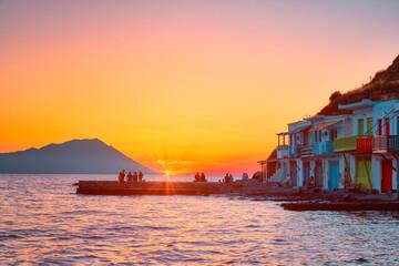 Sunset in Klima village on Milos island in Greece