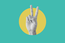 Digital Collage Modern Art. Hand Showing Peace Hand Sign