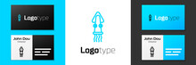 Blue Line Octopus Icon Isolated On White Background. Logo Design Template Element. Vector.