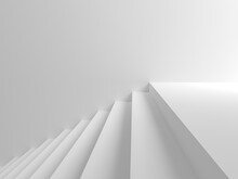 Abstract Background All White Scenes There Are Steps To The Right. 3D Scene.