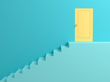 Abstract Background Blue Ladder To The Door Of Yellow Success. 3D Scene.