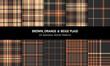 Tartan plaid pattern set in brown, orange, beige. Seamless dark herringbone check vector graphics for autumn winter flannel shirt, skirt, scarf, throw, bag, other modern fashion fabric design.