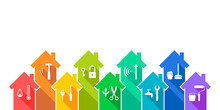 House And Related Work Tool Icon Set As Building, Maintenance, Renovation, Repair Or Facility Management Concept