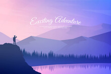 Vector Illustration. Travel Concept Of Discovering, Exploring And Observing Nature. Hiking. Adventure Tourism. Man Looking At View. Lake, Forest, Hills. Website Template. Natural Colorful Wallpaper.