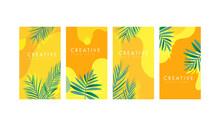 Social Media Stories Design Templates With Fluid Wave Shape, Fresh Palm Leaves. Summer Banner.