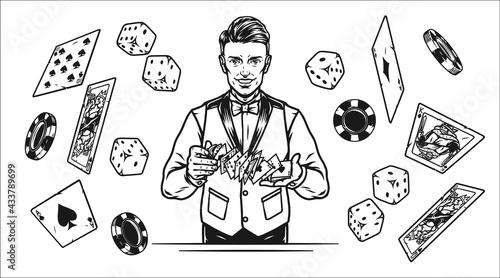 Slika na platnu Gambling vintage monochrome concept