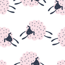 Seamless Pattern With Cute Pink Sheep On A White Background. Vector Illustration For Printing On Fabric, Packaging Paper, Postcard, Poster. Cute Baby Background For Girls.