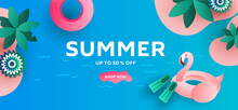 Summer Sale Banner Layout Template Design With Flamingo And Leaves.