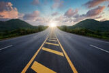 Fototapeta Kawa jest smaczna - Highway, The road among the trees and mountains and ahead to success in the asphalt near the sunset, Concept road to success