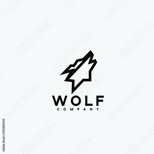 Fotografía Abstract luxury wolf head vector monogram logo design template