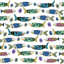 Vectot Illustration Seamless Pattern With Funny Cute Fish. For Textile And Cover For Phone
