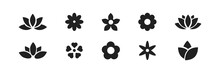 Flower Icon Set. Vector Flowers Silhouette Collection On White Background.