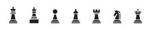 Chess Icon Set. Vector Chess Figure Collection.