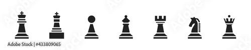 Fotografia Chess icon set. Vector chess figure collection.