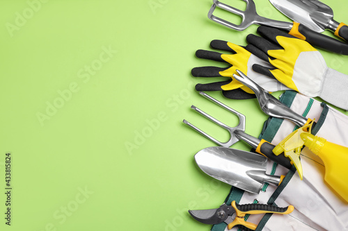 Flat lay composition with gardening tools on green background, space for text - fototapety na wymiar