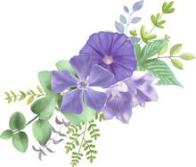 紫の花と葉っぱの繊細な装飾 ベクター素材