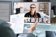 Leinwandbild Motiv Virtual Job Interview Webcast