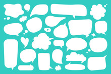 Blank Speech Bubble. White Empty Comic Dialog And Thought Balloons, Cute Hand Drawn Doodle Cartoon Chat Bubbles Stickers Vector Set. Talking Clouds Of Different Shape For Discussion