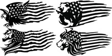 United States Of America's Flag With Animal In A Distressed Style.