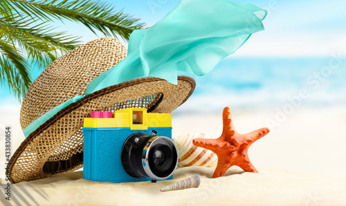 Summer tropical Vacation background. Composition on the beach - fototapety na wymiar