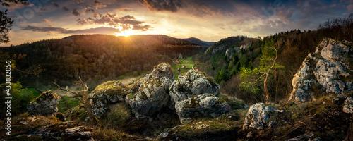 Panoramic view from the limestone peak to Pradnik Valley. Ojcowski National Park #433832056