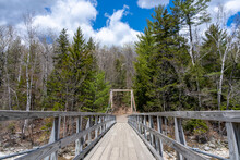 Wooden Bridge Over The Pemigewasset River. Lincoln Woods Trail, White Mountains,  New Hampshire,