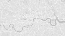 White And Light Grey London City Area Vector Background Map, Streets And Water Cartography Illustration.