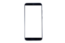 Smartphone Isolated On White Background, Clipping Path. Blank Screen Mobile Phone Close Up, Flat Lay
