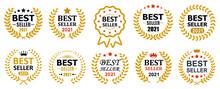 Set Best Seller Icon Design With Laurel, Best Seller Badge Logo Isolated - Vector