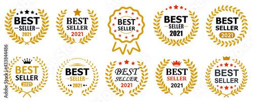 Fotografia Set best seller icon design with laurel, best seller badge logo isolated - vecto