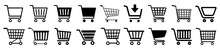 Shop Cart Icon Set, Buy And Sale Symbol. Full And Empty Shopping Cart. Shopping Basket Icon Sign – Vector